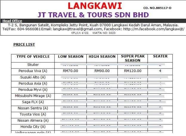 Kereta Sewa di Pulau Langkawi