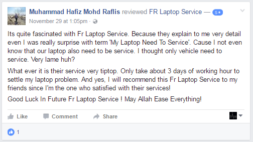FR Laptop Service Testimoni 1