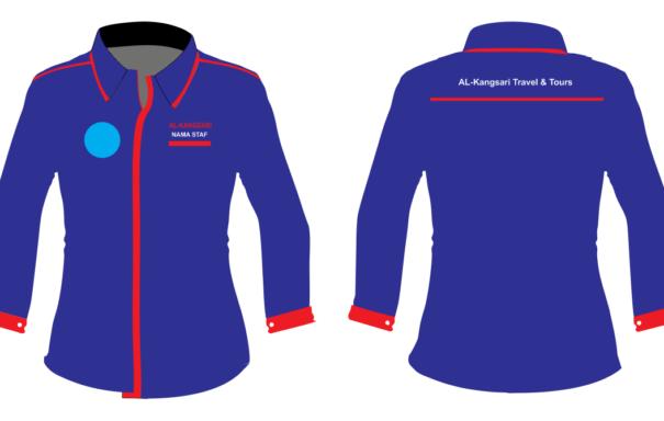 tempah baju korporat custom made