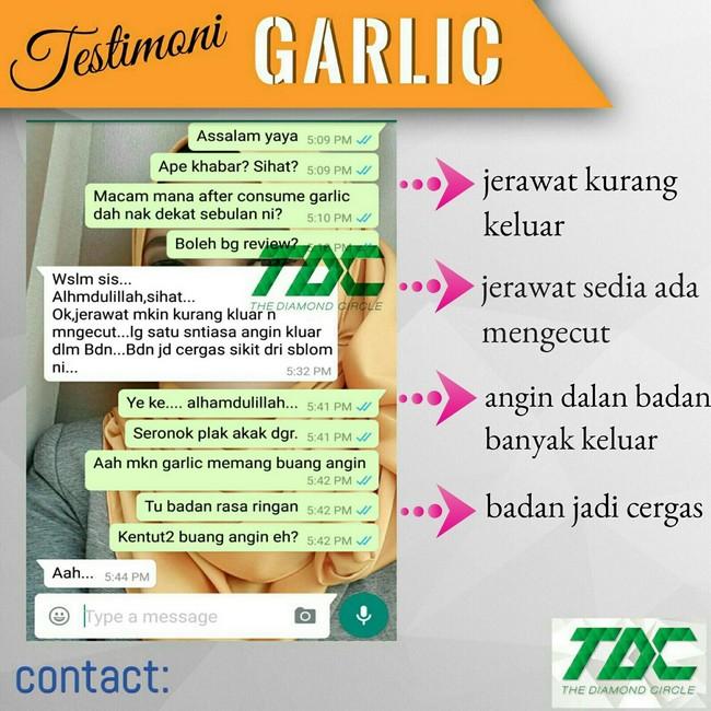 garlic tablet mengecutkan jerawat dan angin dalam badan