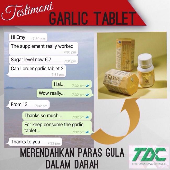 garlic tablet merendahkan paras gula dalam darah