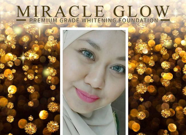 hasil selepas menggunakan miracle premium grade whitening foundation