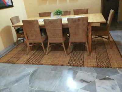 hiasan rumah menggunakan tikar sarawak