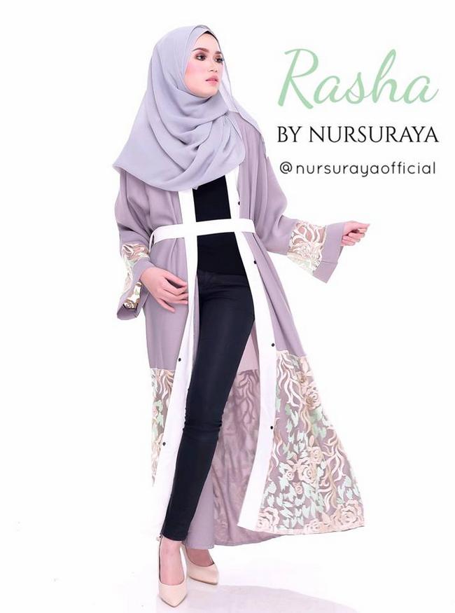 fesyen jubah abaya dipadankan dengan pallazo dan jeans