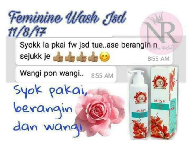 rasa sejuk dan wangi selepas mencuci alat sulit dengan feminine wash jsd