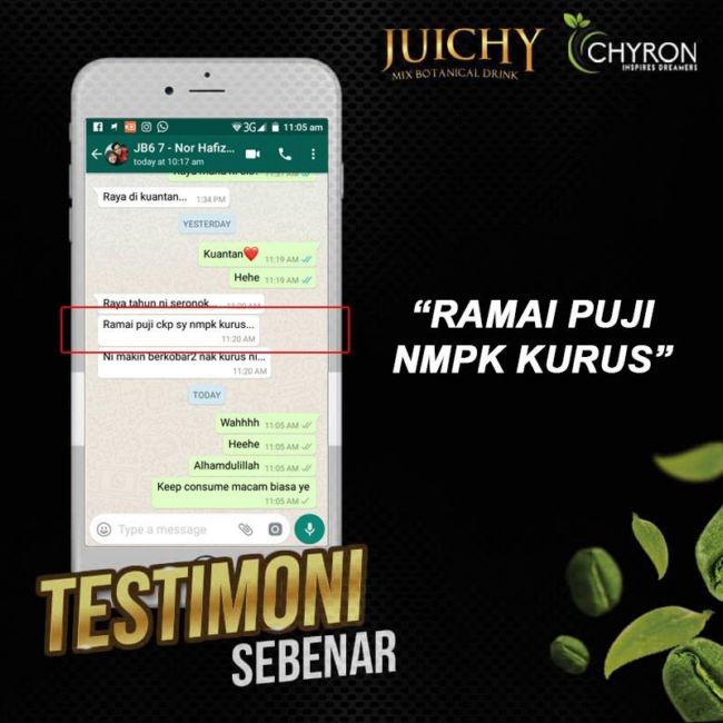 testimoni pengguna juichy advance yang telah turunkan badan dan detox badan (1)