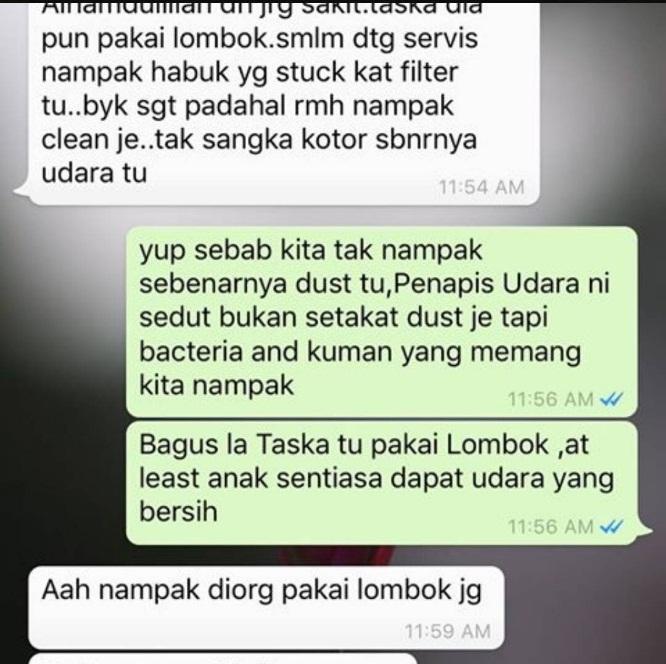testimoni pengguna penapis udara coway lombok