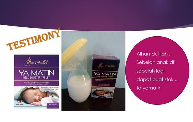 testimoni pengguna ya matin milk booster 3
