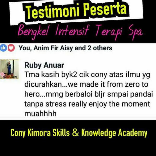 testimoni peserta bengkel terapi spa cony kimora academy (1)