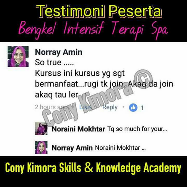 testimoni peserta bengkel terapi spa cony kimora academy (2)