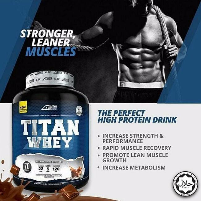 cara besarkan otot dengan titan whey