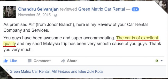 customer review on car rental in alor setar