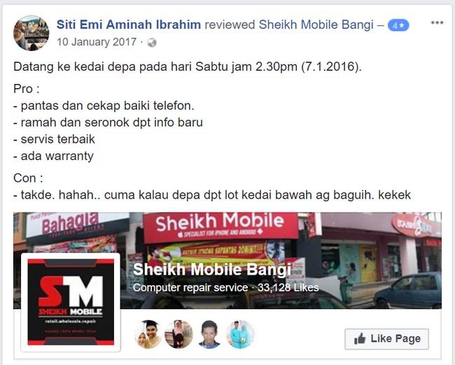 Ada kedai Repair Smartphone murah di Bangi