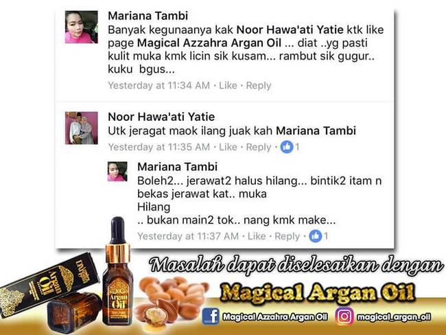 testimoni pengguna magical argan oil