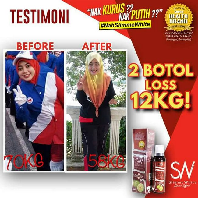 testimoni pengguna yang kurus dan turun berat badan dengan slimme white