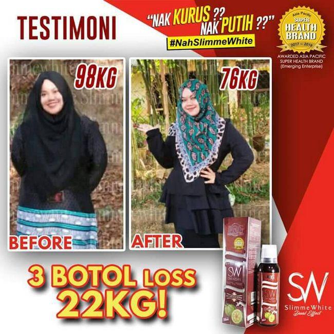 feedback pengguna yang kurus dan turun berat badan dengan slimme white