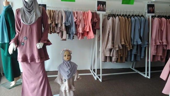 butik baju kurung set ibu dan anak