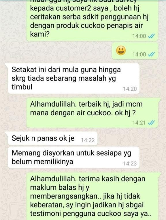 feedback penapis air cuckoo murah
