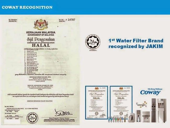 sijil halal penapis air coway