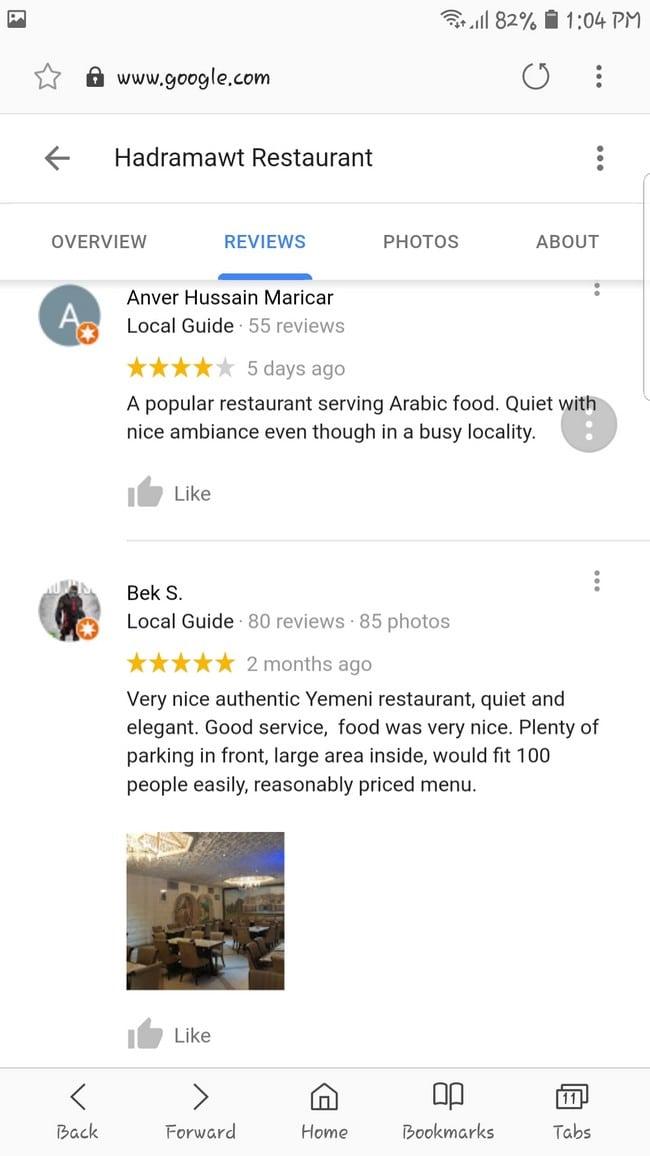 Nasi arab in KL testimonials