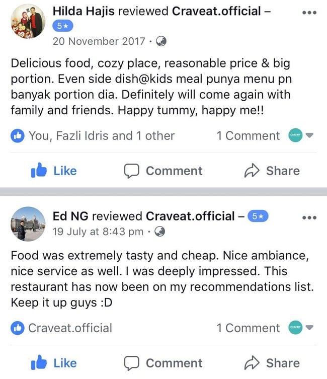 testimoni pelanggan craveat restoran nasi arab sedap di shah alam