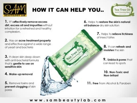 fungsi tea tree wipes tips menghilangkan kotoran dan minyak di muka