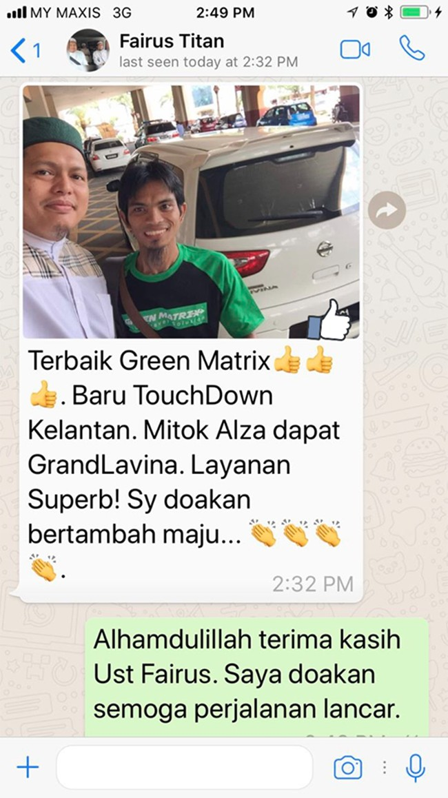 Kereta Sewa Green Matrix Murah di Johor Bahru